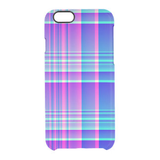 Pink and Blue Plaid Checkered Clear iPhone 6/6S Case