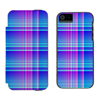 Pink and Blue Plaid Checkered Incipio Watson™ iPhone 5 Wallet Case