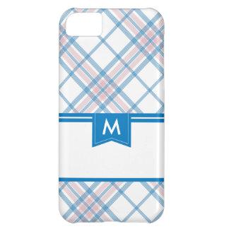 Pink and Blue Plaid Monogram iPhone iPhone 5C Case