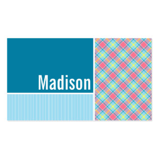 Pink and Blue Plaid Pack Of Standard Business Cards