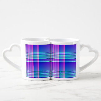 Pink and Blue Plaid Lovers Mugs