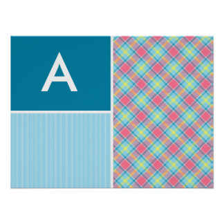 Pink and Blue Plaid Posters