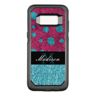 Pink and Blue Polka Dot Glitter Monogram Trendy OtterBox Commuter Samsung Galaxy S8 Case