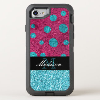 Pink and Blue Polka Dot Glitter Monogram Trendy OtterBox Defender iPhone 8/7 Case