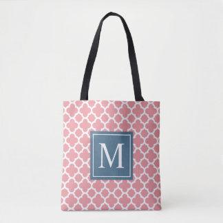 Pink and Blue Quatrefoil Monogram | Tote Bag