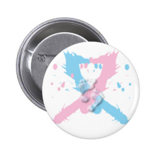 Pink and Blue Ribbon Splash with footprints 6 Cm Round Badge
