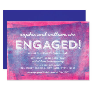Pink and Blue Rolled Ink Engaged! Engagement Party Card