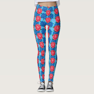 Pink and Blue Rose Pattern on Leggings