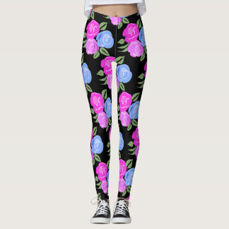 Pink and Blue Roses Leggings