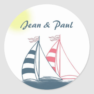 Pink and blue sailboats round sticker
