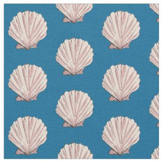 Pink and Blue Scallop Shell Pattern Fabric