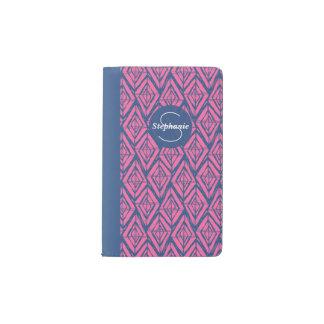 Pink and Blue Sketchy Lines Geometric patterned Pocket Moleskine Notebook