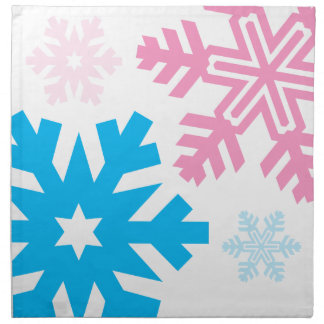 Pink And Blue Snowflakes elegant Napkin
