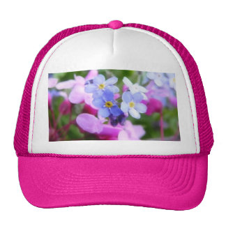 Pink And Blue Spring Flowers Mesh Hat