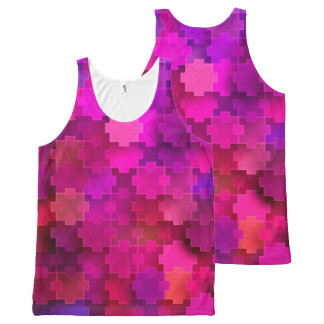 Pink and Blue Square Puzzle Pieces Pattern All-Over Print Singlet