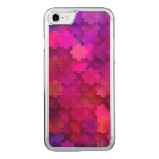 Pink and Blue Square Puzzle Pieces Pattern Carved iPhone 7 Case