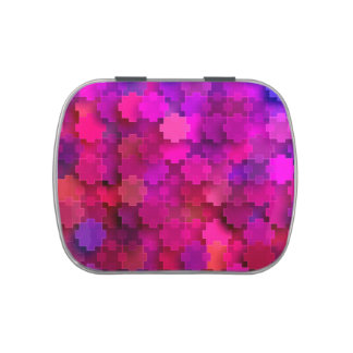 Pink and Blue Square Puzzle Pieces Pattern Jelly Belly Candy Tins