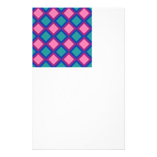 pink and blue squares or diamonds customized stationery