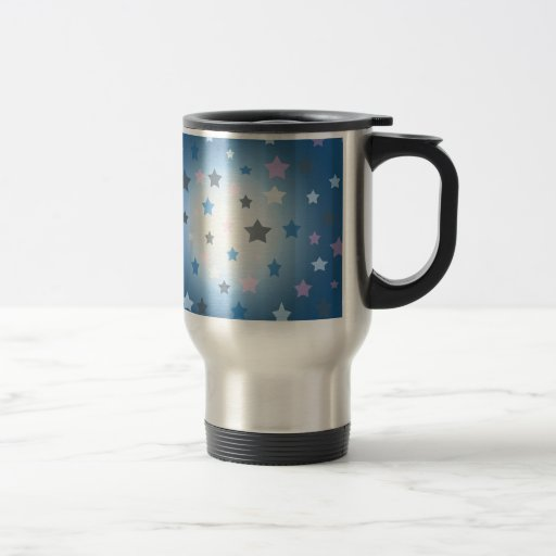 Pink and blue stars design pattern mug