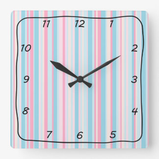 PInk and Blue Striped Square Clock