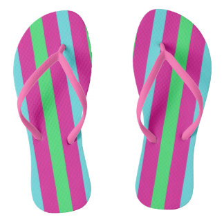 Pink and blue stripes thongs
