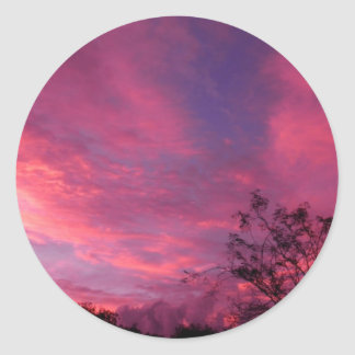 Pink and Blue Sunset Sunrise Sky Skies Photo Classic Round Sticker