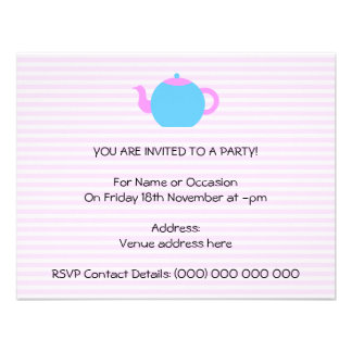 Pink and Blue Teapot Picture Personalized Invitations