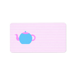 Pink and Blue Teapot Picture. Label