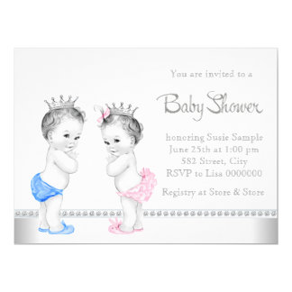 Pink and Blue Twins Baby Shower 17 Cm X 22 Cm Invitation Card