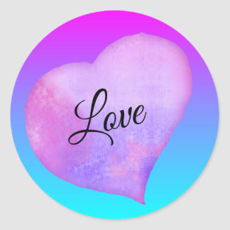 Pink and Blue Watercolor Heart Love Classic Round Sticker