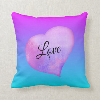 Pink and Blue Watercolor Heart Love Cushion