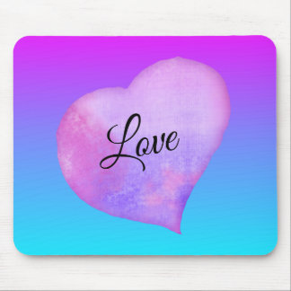 Pink and Blue Watercolor Heart Love Mouse Pad