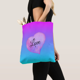 Pink and Blue Watercolor Heart Love Tote Bag