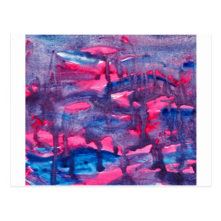 Pink and Blue Watercolour Design Postcard