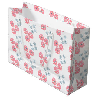 Pink and blur floral gift bag