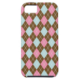 Pink and Brown Argyle iPhone 5 Covers