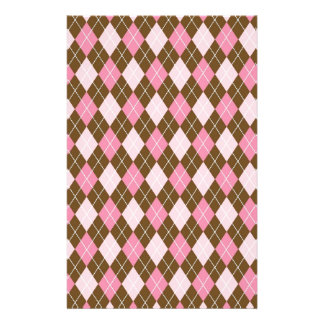 Pink and Brown Argyle Diamond Print Stationery Design
