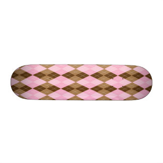 Pink and Brown Argyle Plaid 21.3 Cm Mini Skateboard Deck