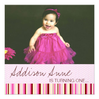 Pink and Brown Baby Girl 1st Birthday Invitation