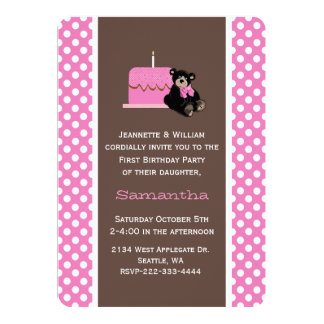 """Pink and Brown Baby's First Birthday Invitation 5"""" X 7"""" Invitation Card"""