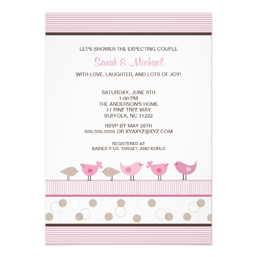 Pink and Brown Birds Girl Baby Shower Invite