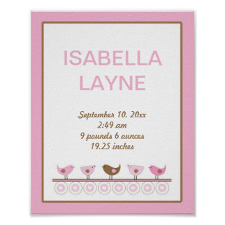 Pink and Brown Birds Girl Nursery Wall Art