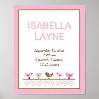 Pink and Brown Birds Girl Nursery Wall Art Poster