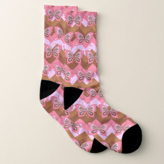 Pink and Brown Butterfly Zig Zag Background 1