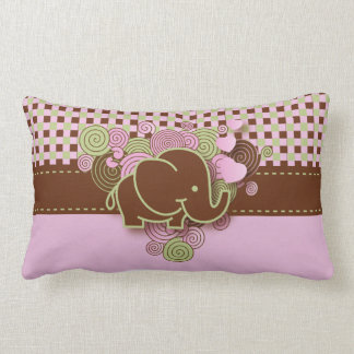 Pink and Brown Checkered Baby Elephant Lumbar Cushion