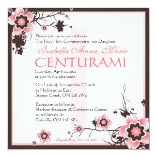 Pink and Brown Cherry Blossom Shower Invitation