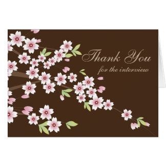 Pink and Brown Cherry Blossom, Thank you Interview Note Card