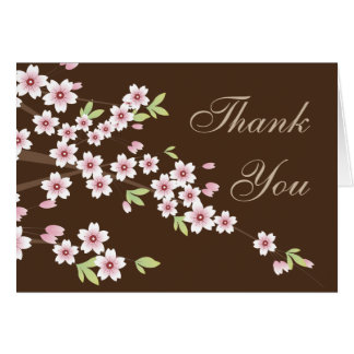 Pink and Brown Cherry Blossom, Thank you Note Card