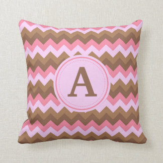 Pink and Brown Chevron Pillow with Custom Monogram