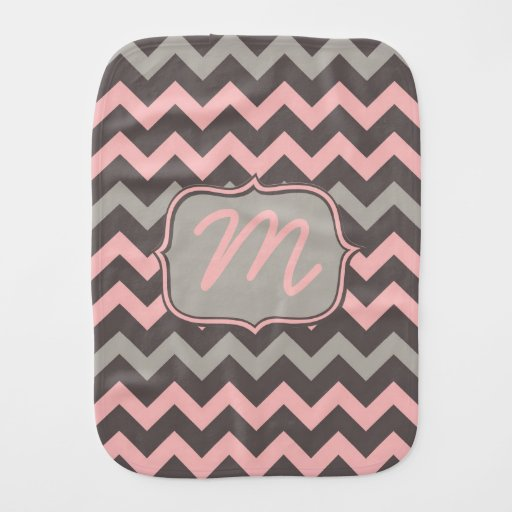 Pink and Brown Chevron with Initial Baby Burp Cloths